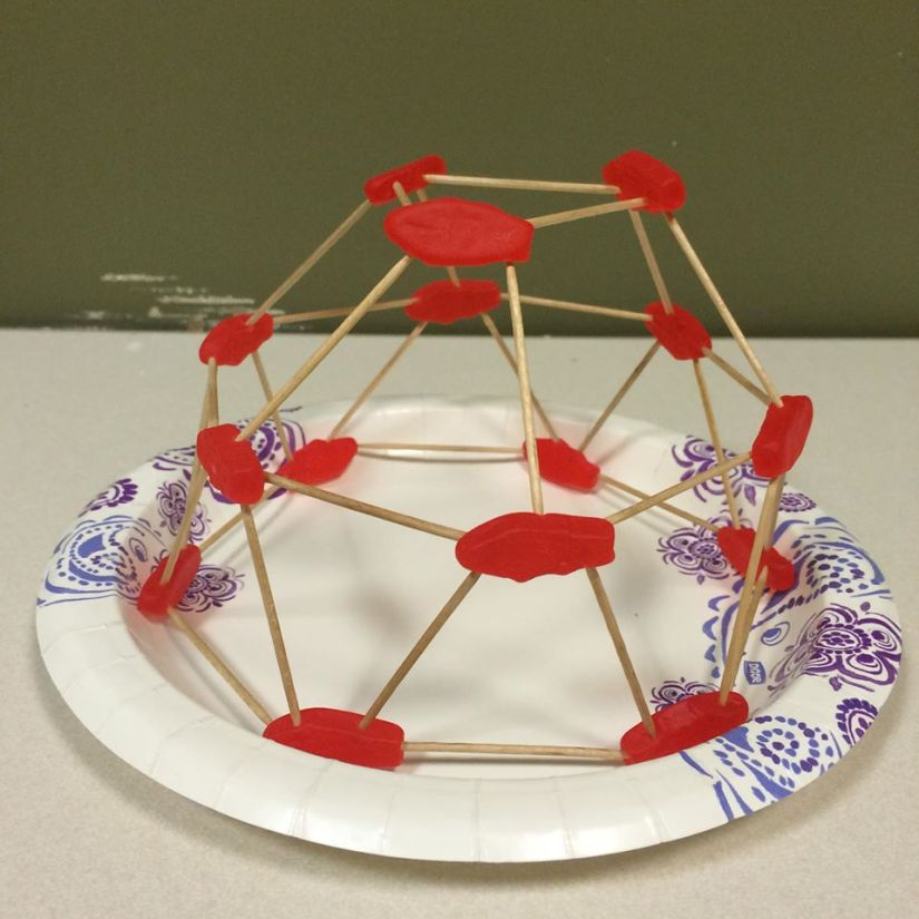 Geodesic dome made with Swedish Fish and toothpicks